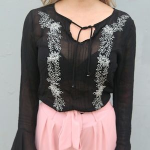 Sheer Black Chiffon Embroidery Boho Blouse Small